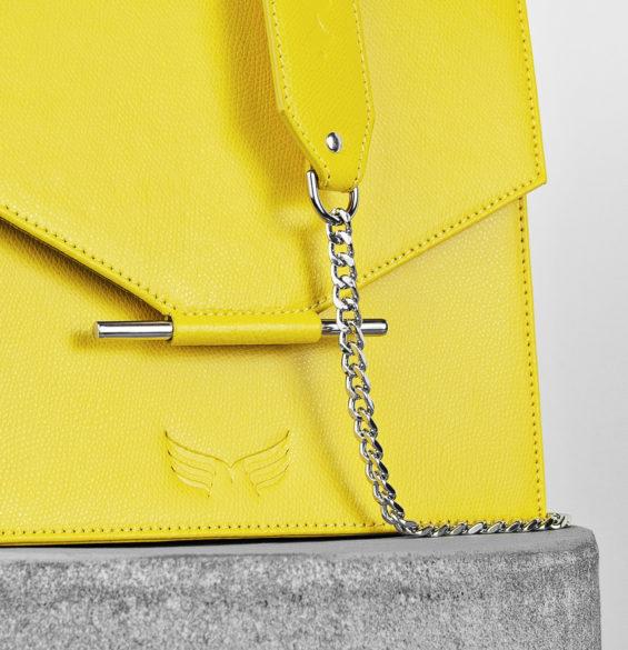 Geanta din piele naturala cu design minimalist, culoarea galbena, Maestoso Yellow Square Bag