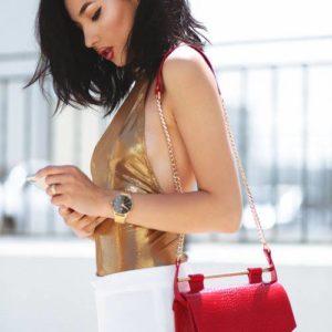 Geanta din piele naturala Red Croco Square Bag