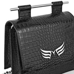 Geanta din piele naturala Maestoso Black Croco Sparrow Bag