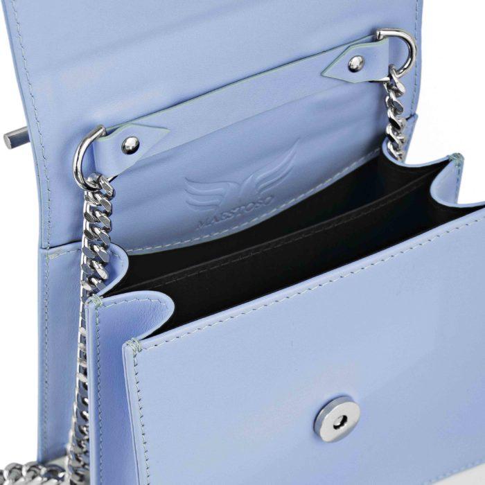 Geanta din piele naturala Maestoso Blue Sky Sparrow Bag