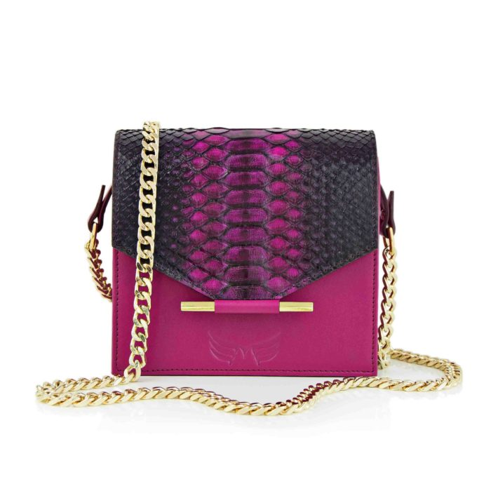 Maestoso Magenta Snake Mini Square Bag