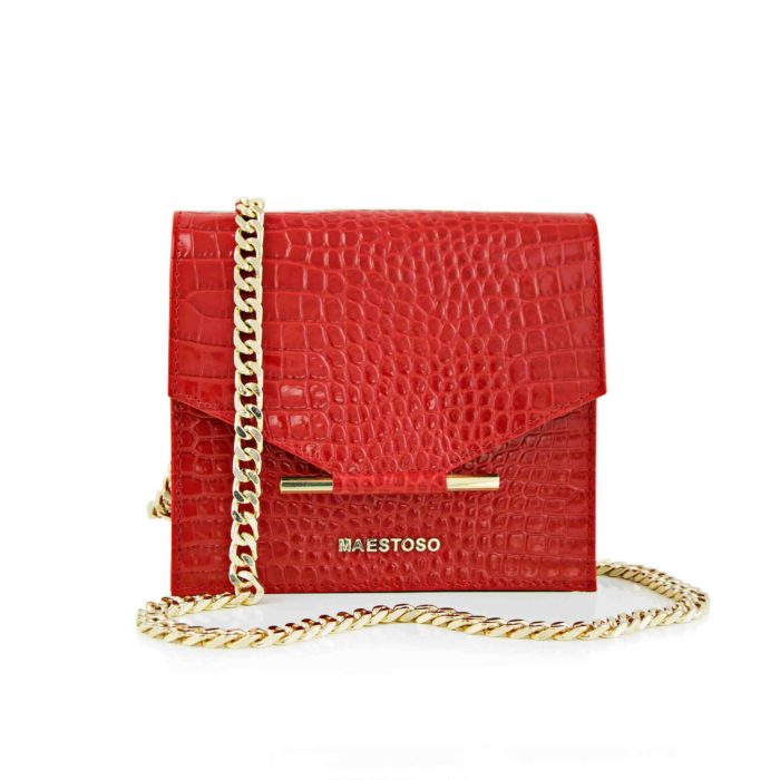 Maestoso Red Croco Mini Square Bag