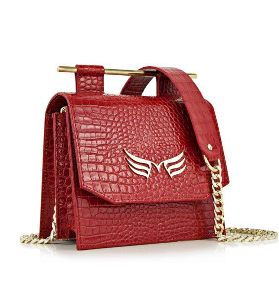 Geanta din piele naturala Maestoso Red Croco Sparrow Bag