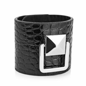 Bratara din piele naturala Maestoso Black Croco Bracelet