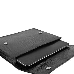 Husa laptop din piele Maestoso Black Croco Laptop Case