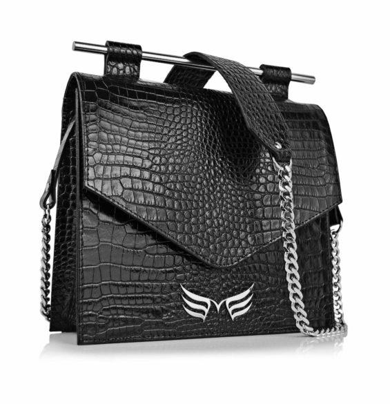 Geanta din piele naturala Maestoso Black Croco Square II Bag