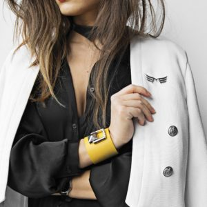 Bratara din piele naturala Maestoso Yellow Bracelet