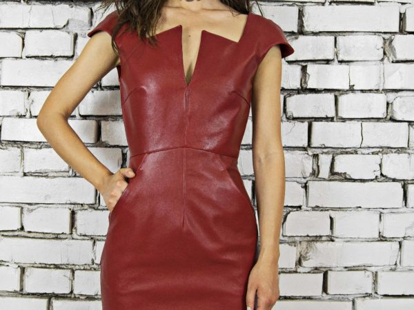 Maestoso Wagner Red Leather Mini Dress