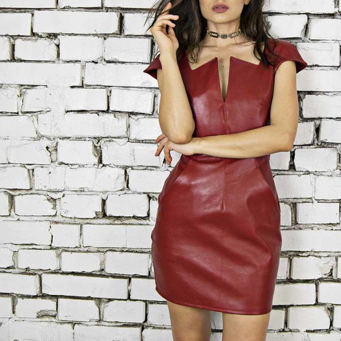 Maestoso Wagner Red Leather Mini Dress