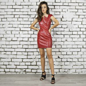 Rochie din piele naturala Maestoso Wagner Red Leather Mini Dress