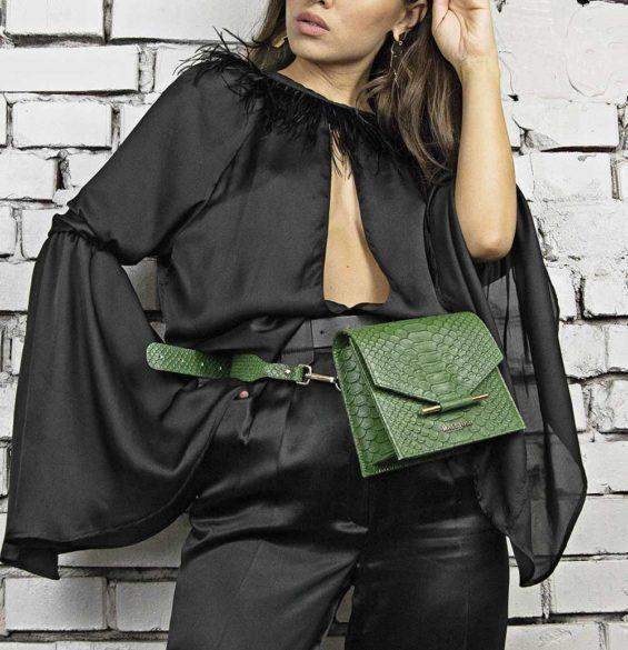Maestoso Green Snake Waist Bag