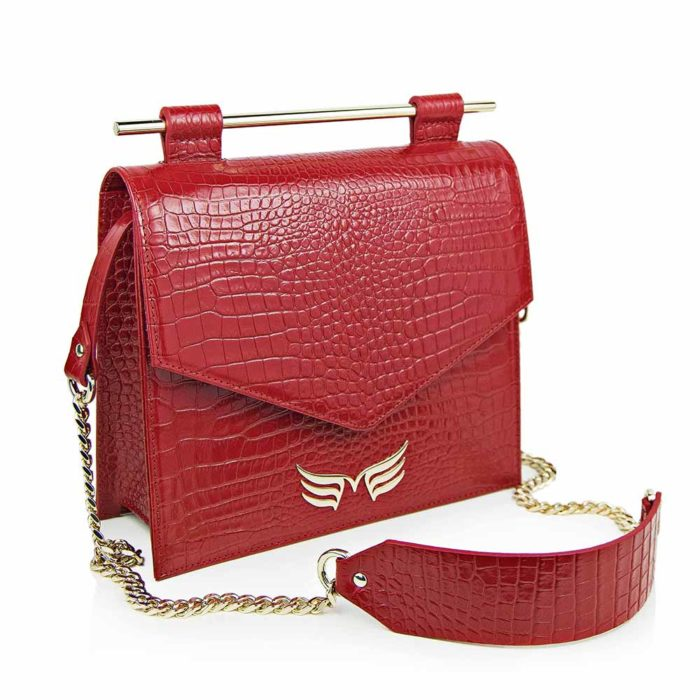 Maestoso Red Croco Square Bag II