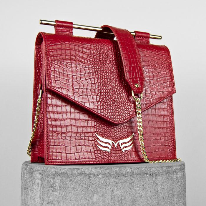 Geanta din piele naturala, cu presaj croco, culoarea rosie, Maestoso Red Croco Square Bag II