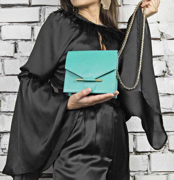 Maestoso Turquoise Mini Square Bag