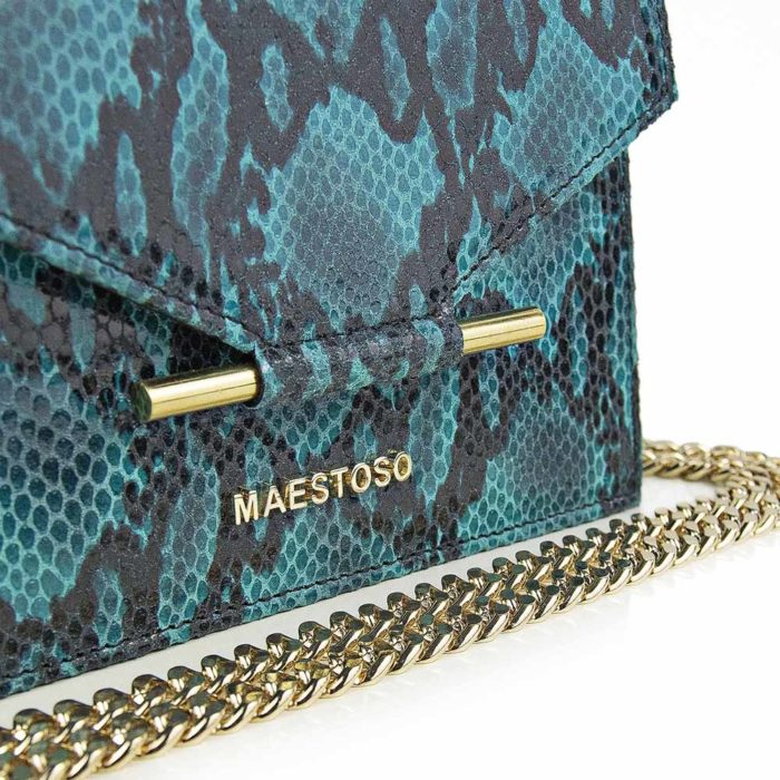 Maestoso Turquoise Snake Mini Square Bag