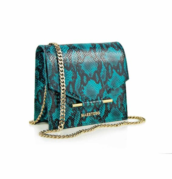 Maestoso Turquoise Snake Mini Square Bag