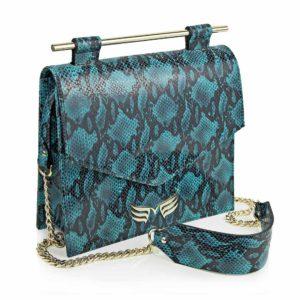 Maestoso Turquoise Snake Square Bag II