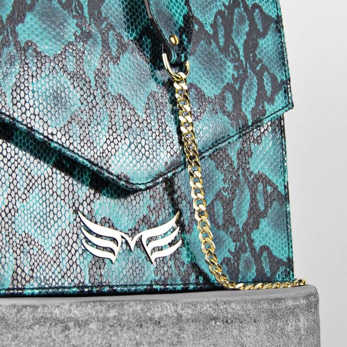 Geanta din piele naturala Maestoso Turquoise Snake Square Bag II