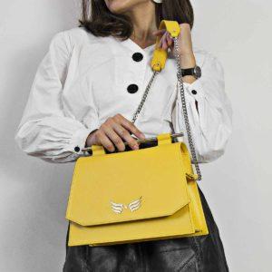 Geanta din piele naturala, culoarea galben Maestoso Yellow Skylark Queen