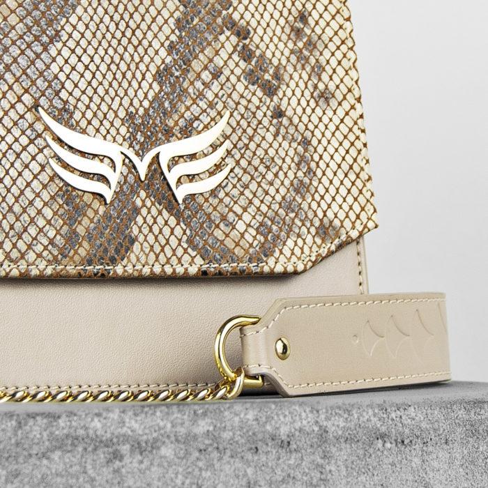 Geanta mini din piele naturala, culoarea nude cu textura sarpe, Maestoso Nude & Snake Sparrow Bag