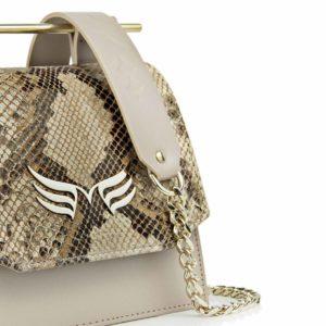Geanta din piele naturala Maestoso Nude & Snake Sparrow Bag