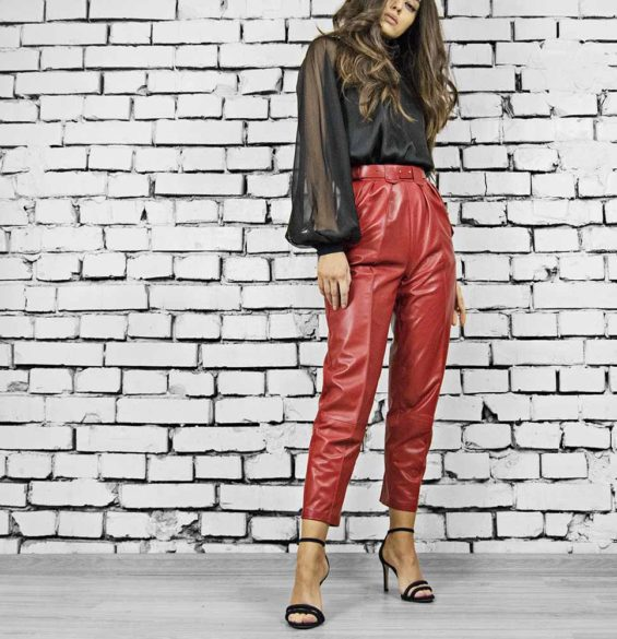 Pantaloni din piele naturala Karl Red Leather Pants
