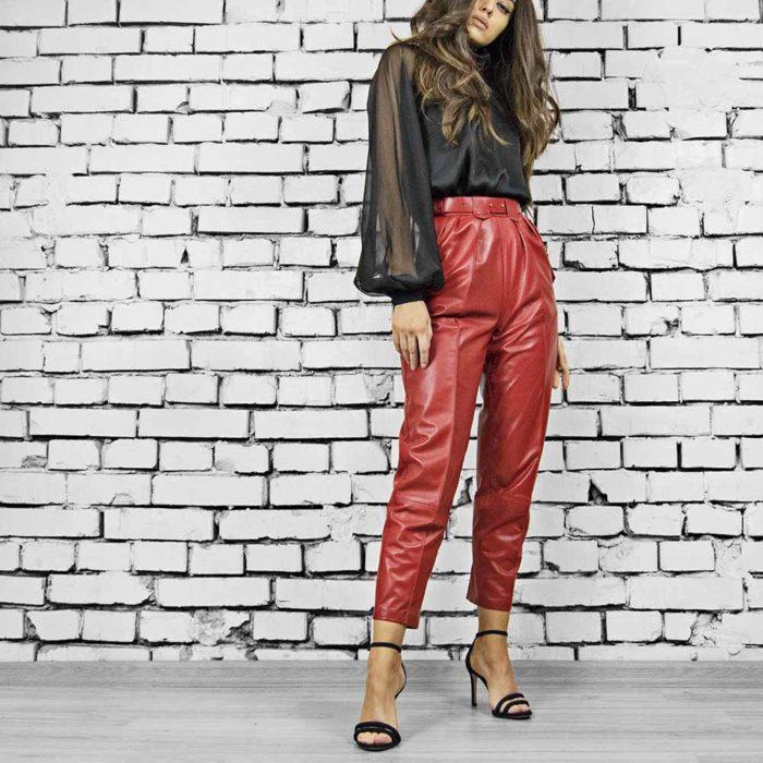 Pantaloni din piele naturala Karl Red Leather Pants