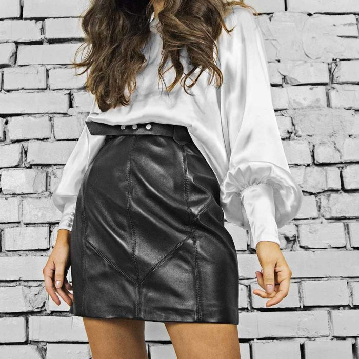 Fusta din piele natura neagra Ludwig Leather Skirt