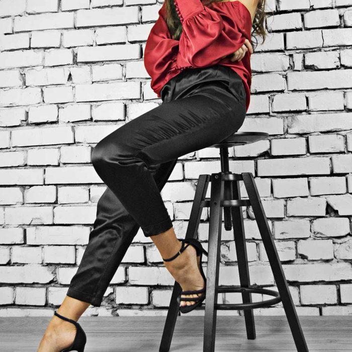 Pantaloni din matase naturala, culoare negru, Luis Silk Pants