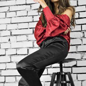 Bluza din matase naturala, culoare rosu, Nouvel Red Silk Blouse