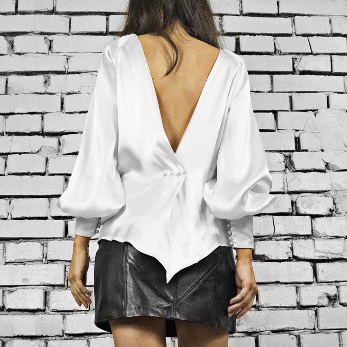 Bluza din matase naturala, culoare alb, Nouvel White Silk Blouse