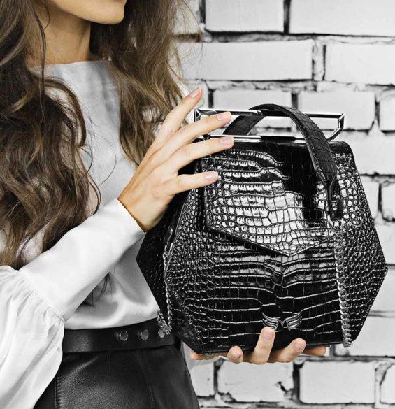 Geanta premium, realizata din piele croco, Maestoso Black Croco Iridium Bag