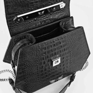 Geanta premium, realizata din piele aligator, Maestoso Black Alligator Iridium Bag