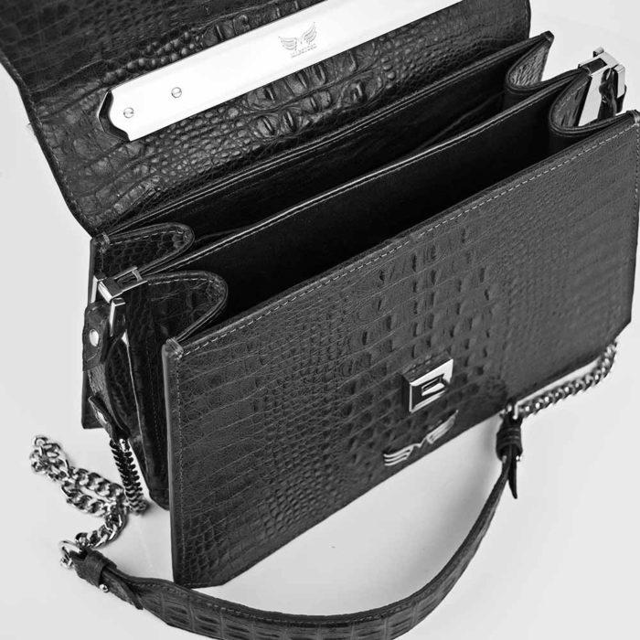 Geanta premium, realizata din piele aligator, Maestoso Black Alligator Large Osmium Bag