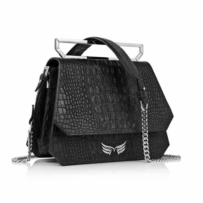 Geanta premium, realizata din piele aligator, Maestoso Black Alligator Osmium Bag
