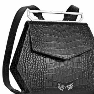 Rucsac premium, realizat din piele croco, Maestoso Black Croco Iridium Backpack