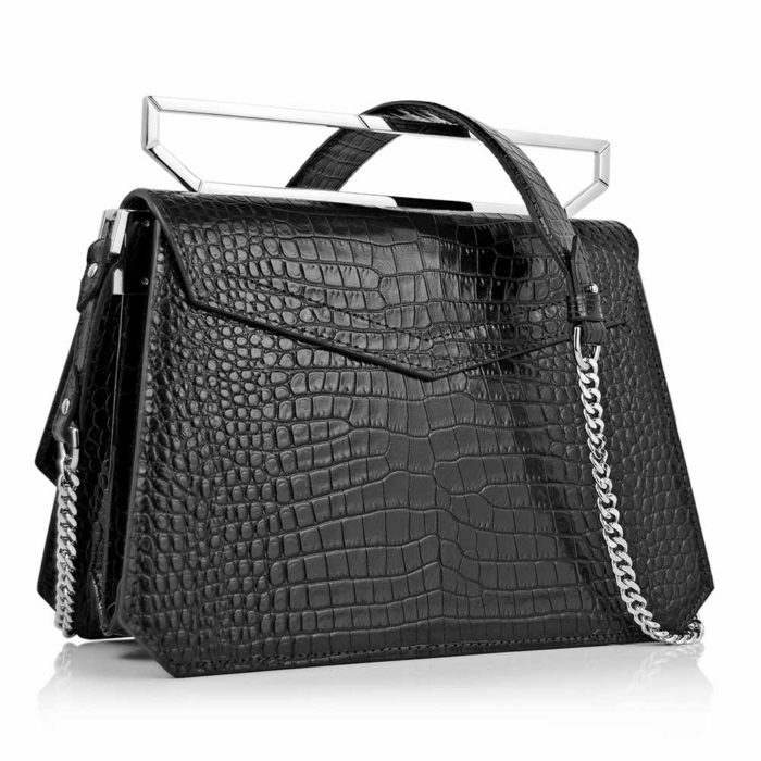 Geanta premium, realizata din piele aligator, Maestoso Black Croco Large Osmium Bag