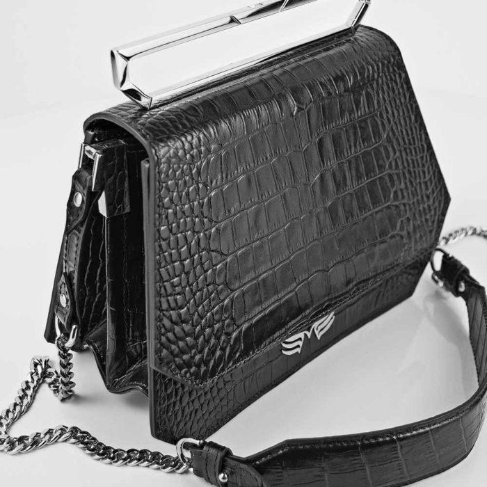 Geanta premium, realizata din piele croco, Maestoso Black Croco Osmium Bag