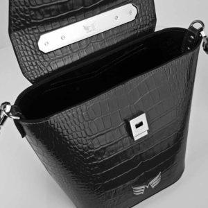 Geanta premium, realizata din piele croco, Maestoso Black Croco Rhodium Bag