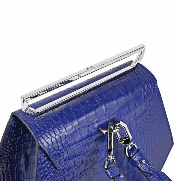 Rucsac premium, realizat din piele croco, Maestoso Blue Croco Iridium Backpack