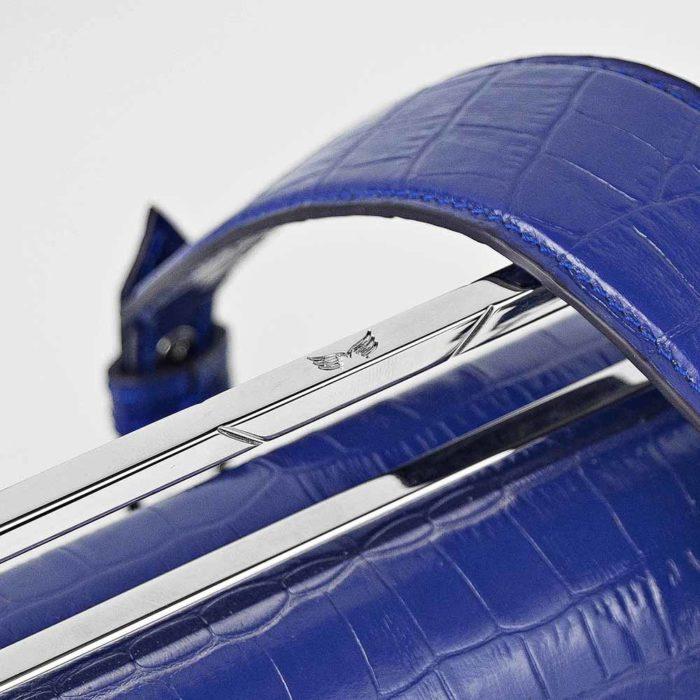 Geanta premium, realizata din piele croco, Maestoso Blue Croco Osmium Bag