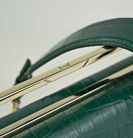 Geanta premium, realizata din piele croco, Maestoso Black Croco Large Osmium Bag