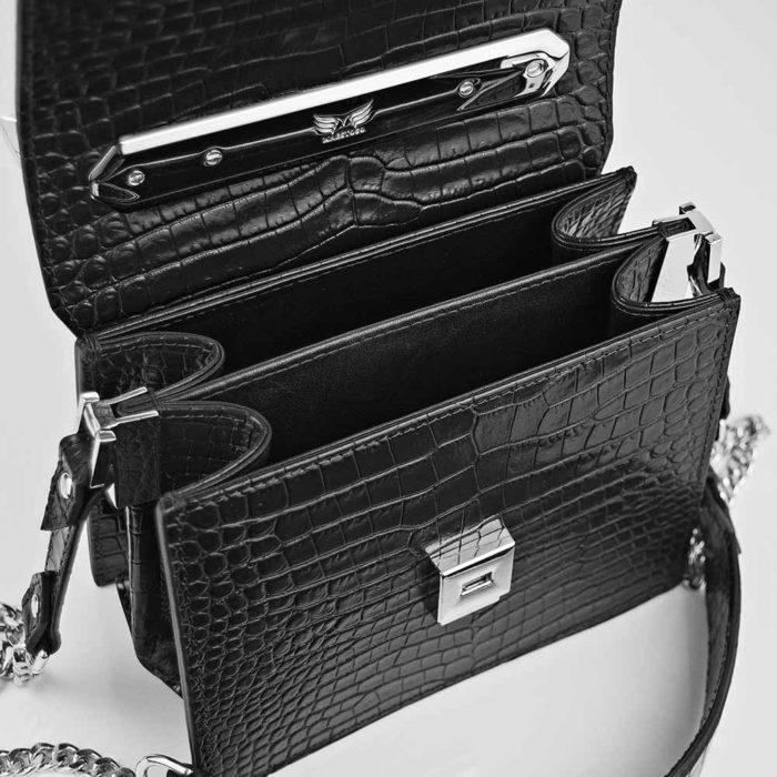 Geanta premium, realizata din piele croco, Maestoso Black Croco Palladium Bag
