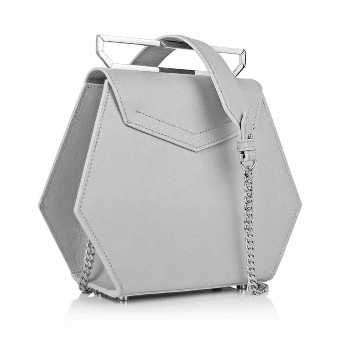 Geanta premium, realizata din piele naurala, Maestoso Grey Iridium Bag