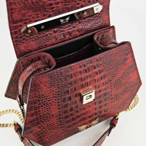 Geanta premium, realizata din piele aligator, Maestoso Red Alligator Iridium Bag