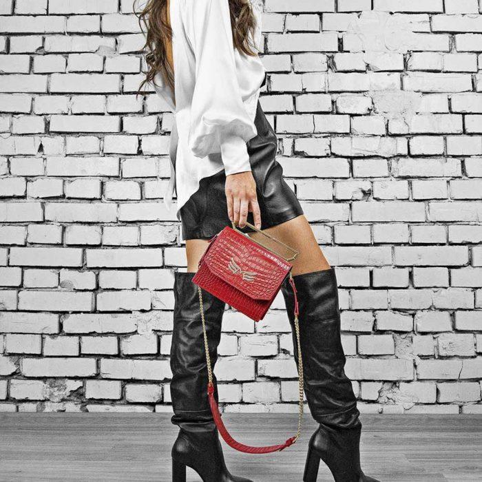 Geanta premium, realizata din piele croco, Maestoso Red Croco Palladium Bag