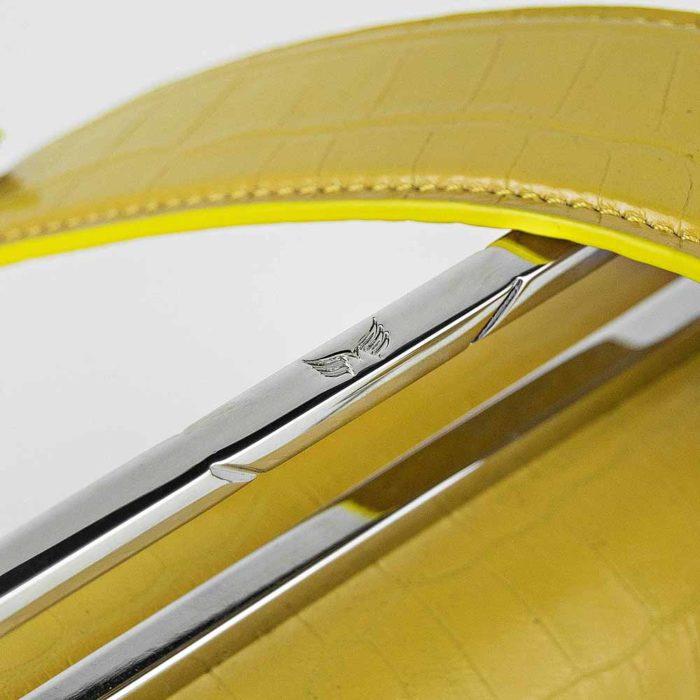 Geanta premium, realizata din piele croco, Maestoso Yellow Croco Palladium Bag