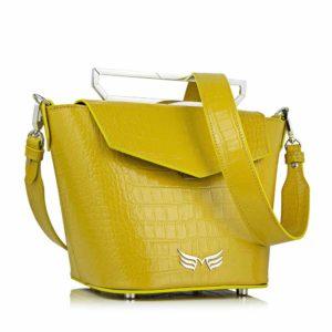 Geanta premium, realizata din piele croco, Maestoso Yellow Croco Rhodium Bag