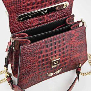 Geanta premium, realizata din piele aligator, Maestoso Red Alligator Osmium Bag