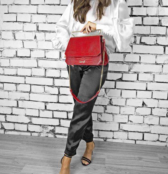 Geanta premium, realizata din piele croco, Maestoso Red Croco Large Osmium Bag